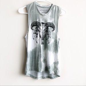 Fifth Sun | Tie Dye Western Skull Graphic Tank Top